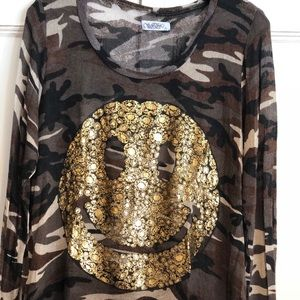 Camo smiley face light weight sweater
